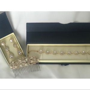 Jewelry - Gold Crystal Bridal Jewelry Set